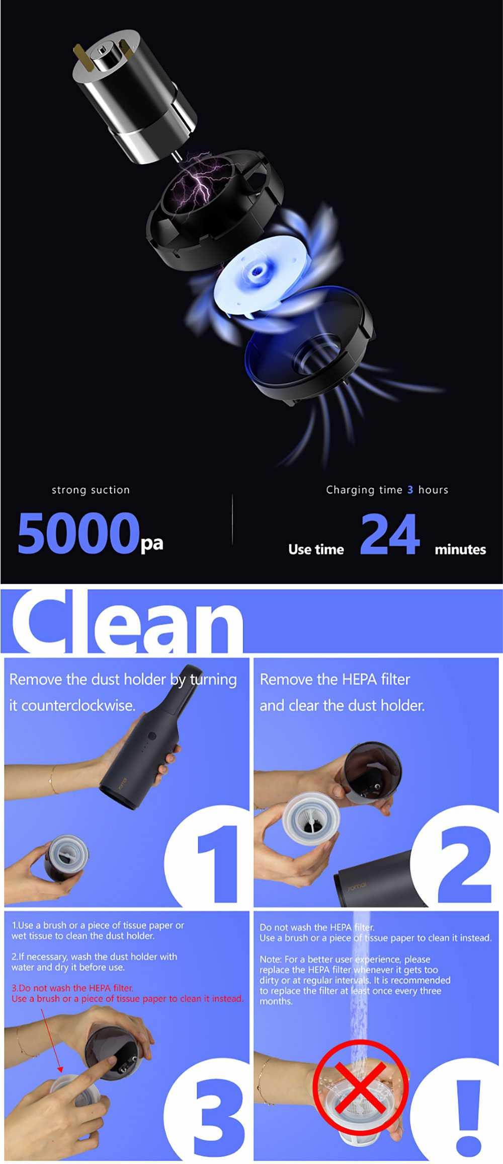 70 Mai New Hand-held Vacuum Cleaner