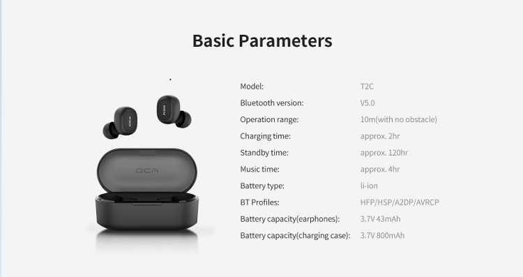 QCY T2C TWS Bluetooth 5.0 Earphones Wholesalle
