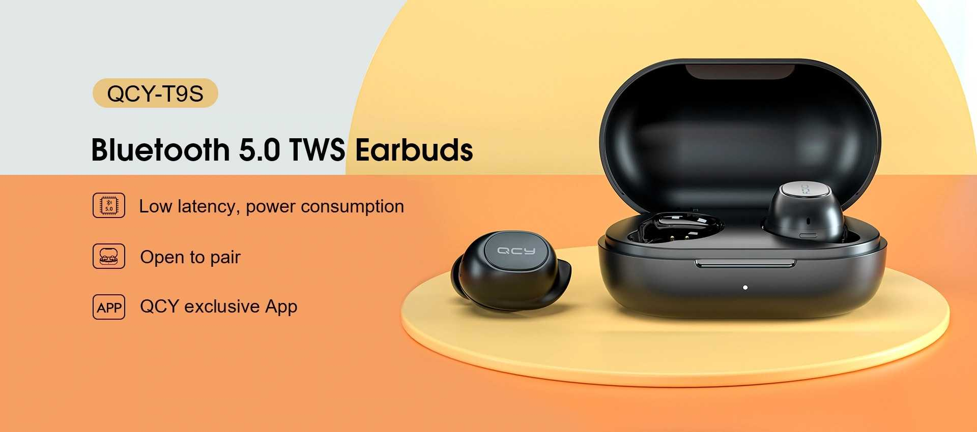 New QCY T9S TWS bluetooth 5.0 Earphone